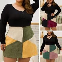 Fashion Contrast Color High Waist Front-zipper  Plus-size Skirt