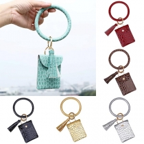 Creative Style Tassel Pendant Bracelet Key Chain with Pouch