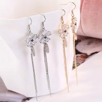 Fashion Long Tassel Pendant Rhinestone Flower Earrings