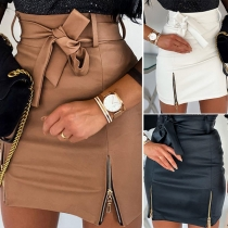 Fashion High Waist Zipper Hem Slim Fit PU Leather Skirt