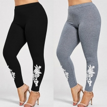Fashion High Waist Lace Spliced Stretch Leggings