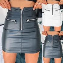 Fashion High Waist Slim Fit PU Leather Skirt