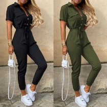 Fashion Solid Color Short Sleeve POLO Collar High Waist Jumpsuit(The size falls small)