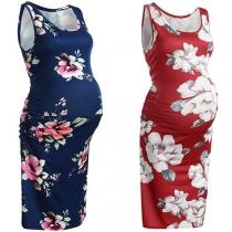 Fashion Sleeveless Round Neck Printed Maternity Dress