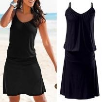 Sexy Backless V-neck Solid Color Sling Black Dress