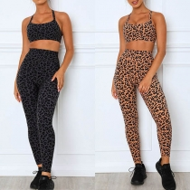 Sexy Leopard Printed Sling Crop Top + Leggings Two-piece Set