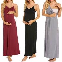 Sexy Backless V-neck Solid Color Sling Maternity Dress