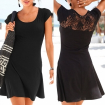 Sexy Lace Spliced Short Sleeve Round Neck Solid Color Dress