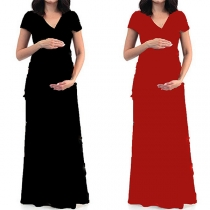 Elegant Solid Color Short Sleeve V-neck Maternity Dress