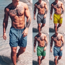 Fashion Elastic Waist Printed Beach Shorts for Man