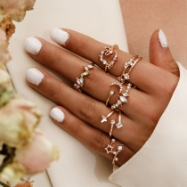Fashion Rhinestone Inlaid Ring Set 7 pcs/Set