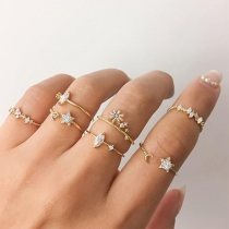 Fashion Rhinestone Inlaid Alloy Ring Set 7 pcs/Set