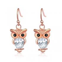 Cute Style Rhinestone Inlaid Owl Shaped Earrings