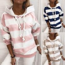 Fashion Long Sleeve Hooded Striped Thin Sweatshirt