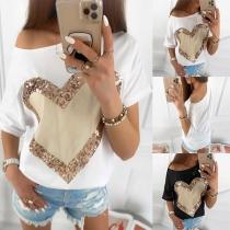 Fashion Sequin Spliced Heart Pattern Short Sleeve Round T-shirt