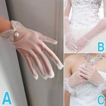Fashion Gauze Wedding Gloves