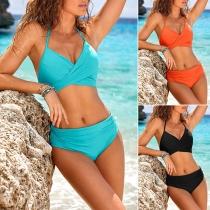 Sexy Backless V-neck High Waist Solid Color Halter Bikini Set