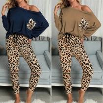 Fashion Long Sleeve T-shirt + Leopard Printed Pants Two-piece Set