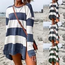 Fashion Long Sleeve Round Neck Slit Hem Striped Sweatshirt