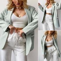 OL Style Long Sleeve Notched Lapel Slim Fit Beaded Blazer