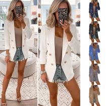 OL Style Long Sleeve Solid Color Double-breasted Slim Fit Blazer
