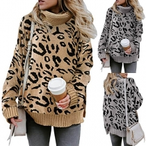 Fashion Leopard Printed Long Sleeve Turtleneck Sweater