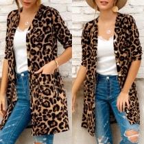 Fashion Leopard Printed Long Sleeve Loose Cardigan