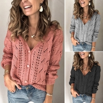 Fashion Solid Color Long Sleeve V-neck Hollow Out Knit Cardigan