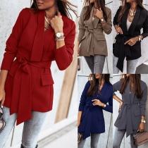 OL Style Long Sleeve V-neck Blazer with Waist Strap