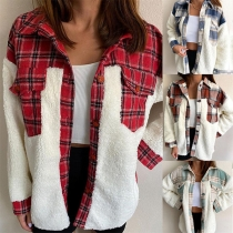 Stand Collar Plush Spliced Shirt Style Plaid Pattern Jacket