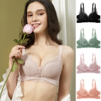 Sexy Solid Color Lace Spliced Push-up Wireless Bra