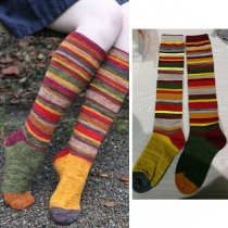 Fashion Contrast Color Rainbow Knee-length Socks