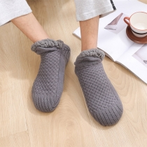 Creative Style Solid Color Knit Socks Home Shoes with Warm Plush Slip on Shoes for Men and Women