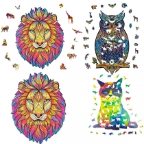 Wooden puzzles,  Jigsaw Puzzle Decompression Learning Toy Best Gift for Adults and Kids, Unique Shape Jigsaw Pieces Charming Owl/Mysterious Lion/Upset Cat