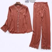 Fashion Solid Color Long Sleeve V-neck Top + Pants Nightwear Set