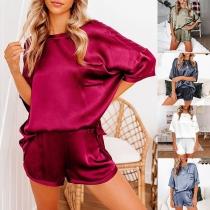 Fashion Short Sleeve Round Neck Top + Shorts Nightwear Set
