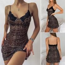 Sexy Backless V-neck Lace Spliced Leopard Printed Sling Nightwear Dress
