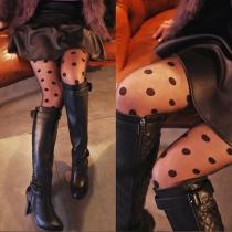 Fashion High Waist Dots Printed Leggings Stockings