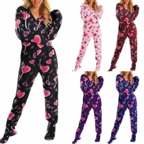 Casual Style Long Sleeve Hooded Home-wear Jumpsuit