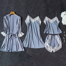 Sexy Lace Spliced Solid Color Nightwear Set 4 pcs/Set