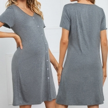 Fashion Solid Color Short Sleeve V-neck Maternity Dress