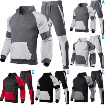 Fashion Contrast Color Long Sleeve Hooded Man's Sports Suit