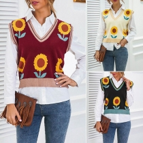 Fashion Sunflower Printed Sleeveless V-neck Knit Vest