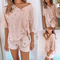 Fashion Sequin Star Spliced Half Sleeve T-shirt + Shorts Home-wear Set