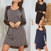 Fashion Lace Spliced Long Sleeve V-neck Nightwear Dress