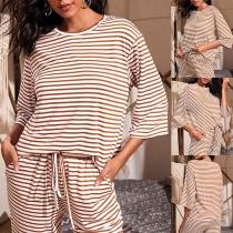 Fashion 3/4 Sleeve Round Neck T-shirt + Pants Two-piece Set
