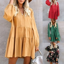 Fashion Lantern Sleeve V-neck Solid Color Loose Dress