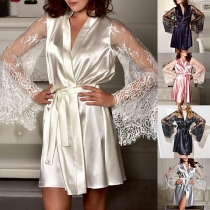 Sexy Lace Spliced Trumpet Sleeve Robe