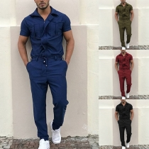 Fashion Solid Color Short Sleeve POLO Collar Man's Jumpsuit