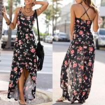 Sexy Backless Slit Hem Printed Sling Dress